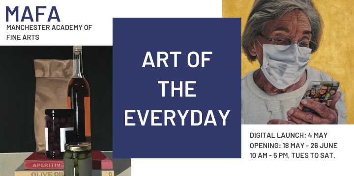 Slider advertising the Art of the Everyday exhibition from 18 May 2021