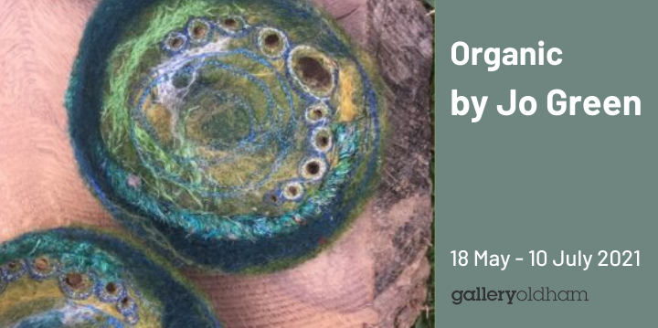 Slider advertising the Organic exhibition by Jo Green from 18 May 2021
